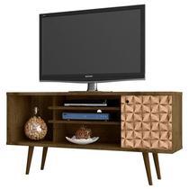 Rack Para TV até 60 Pol. 135 cm Safira Madeira Rústica/Madeira 3D - Bechara -