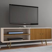 Rack Para Tv Até 60 Polegadas 2 Portas Onix Cinamomo/off White/ripado - Móveis Bechara -