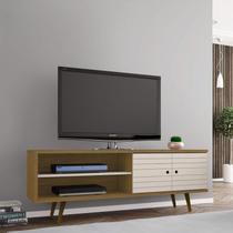 Rack para TV até 60 Polegadas 2 Portas Retrô Ônix Decor Móveis Bechara Cinamomo/Off White -