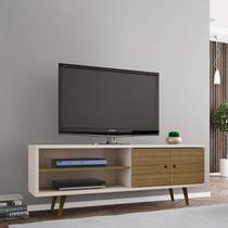 Rack para TV até 60 Polegadas 2 Portas Retrô Ônix Decor Móveis Bechara Off White/Cinamomo -