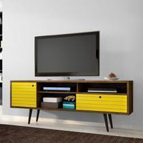 Rack para TV até 60 Polegadas com 2 Portas Esmeralda Madeira / Amarelo - Bechara -