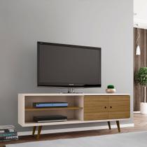 Rack para TV até 60 Polegadas Onix Off-White e Cinamomo - Móveis bechara