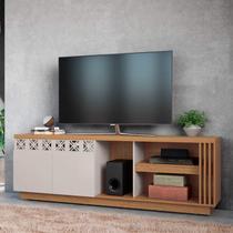 Rack para TV até 70 Polegadas 2 Portas com Espelho Astúrias Colibri Móveis Natural Real/Off White -
