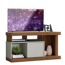 Rack para TV reforçada com porta deslizante Quartzo Off White Nogueira - Linea brasil