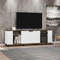Rack Potenza Branco e Carvalho 180 cm - Olivar móveis