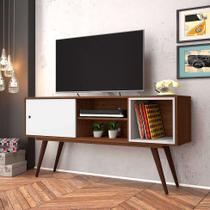 Rack Retrô Monschau Carvalho e Branco 140 cm - Olivar móveis