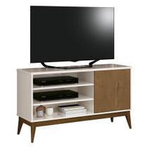 Rack Retrô Vinci Para TV até 50 Polegadas EDN Móveis Cor Off White com Naturale - Estrela Móveis