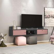 Rack Suspenso Renna Grafite e Rosé 162 cm - Olivar móveis