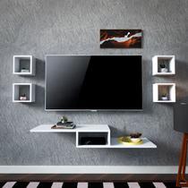 Rack Suspenso Tv Quarto Sala Com 5 Peças Brancas Sem Painel - Vendas PP