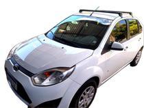 Rack Teto Bagageiro Fiesta Hatch Sedan 2003 Em Diante Longlife Modelo Aluminio Preto - Long Life