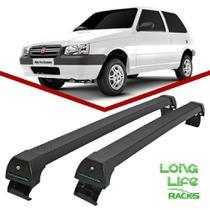 Rack Teto Bagageiro Uno 2 portas 1989 ate 2009 Longlife Modelo Aluminio Preto - Long Life