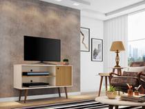 rack tv 50 polegadas + 1 mesa de centro e 2 mesas laterais 2 nichos 1 porta largura 108 cm off white - Bechara