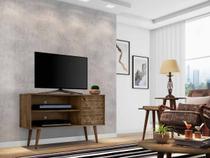 rack tv 50 polegadas + 1 mesa de centro e 2 mesas laterais para sala 1 porta pé palito 108 cm marrom - Bechara
