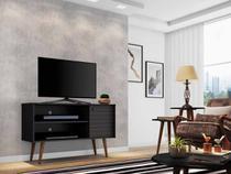 rack tv 50 polegadas + 1 mesa de centro e 2 mesas laterais para sala pé palito 2 nichos 108 cm preto - Bechara