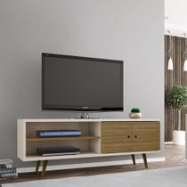 Rack Tv Estilo Retro Onix Cor Off White e Cinamomo - Moveis bechara