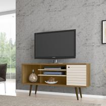 Rack TV Estilo Retro Safira Cor Cinamomo e Off White - Moveis bechara