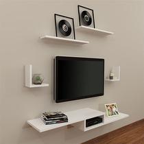 Rack tv kit 5 peças branco suspenso moderno - Decorando Arte