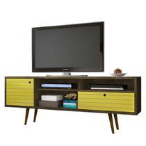 Rack Tv Para Sala 180 Cm Pé Palito Marrom Rústico e amarelo - Bechara