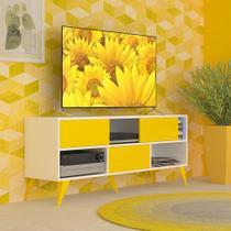 Rack Vivva Branco e Amarelo 135 cm - Multivisão