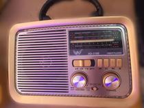 Rádio Am Fm Bluetooth Usb PenDrive Retro Vintage Sw Bateria Recarregavel madeira estilo - Altomex