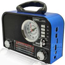 Rádio AM/FM/SW Recarregável Com Bluetooth, Despertador, Pendrive e C. de Memória - Lelong -