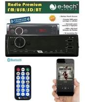 Radio Automotivo E-tech Premium - Bluetooth Usb Aux Controle -