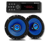 Rádio automotivo Hurricane HR412BT Mp3 Player Bluetooth + Kit alto falante triaxial 6 polegadas