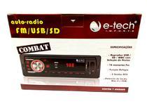 Radio automotivo mp3 fm usb sd - auto-rádio e-tech combat -