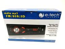 Radio automotivo mp3 fm usb sd - auto-rádio e-tech light -