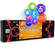 Rádio Automotivo Multilaser Groove P3341 Som Bluetooth MP5 Player 1 Din LCD MP3 USB AUX App Android -