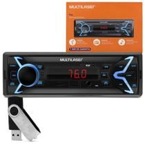 Rádio Automotivo Multilaser Pop P3335P MP3 Player 1 Din USB SD AUX P2 FM + Pen Drive 8GB -