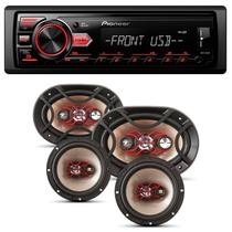 Rádio Automotivo Pioneer MVH-98UB MP3 Player 1 Din Media Receiver Android + Falantes Bravox 240W -