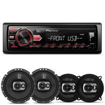 Rádio Automotivo Pioneer MVH-98UB MP3 Player 1 Din Media Receiver Android + Falantes Pioneer 240W -