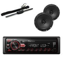 Radio Automotivo Pioneer Mvh-98ub + par alto-falante huricane + Antena Stetsom - Pioneer - huricane - stetsom