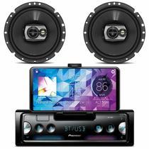 Rádio Automotivo Pioneer Som Bluetooth MP3 Player Smart Sync Android Iphone + Falante Pioneer 120W -