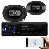 """Rádio Automotivo Pósitron SP2230BT Som Bluetooth MP3 Player + Par Alto Falante Pioneer 6x9"""" 300W RMS - Kit Som E Vídeo"""