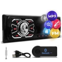 Rádio Automotivo Som MP3 Player 1 Din USB SD FM Auxiliar Svart T100 com Receptor Bluetooth Adaptador