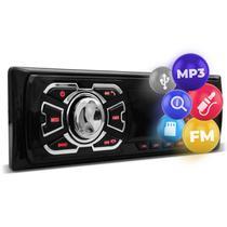 Rádio Automotivo Som MP3 Player 1 Din USB SD FM Auxiliar Svart T100 -
