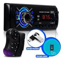 Rádio Bluetooth Aparelho De Som Carro Mp3 Player 2xUsb Aux Bt Rádio - Knup
