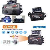Radio Caixa De Som Com Placa Solar Bluetooth Am Fm Usb Sd Lanterna Retro Recarregavel Bivolt - MAKEDA