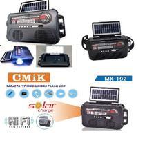 Radio caixa de som com placa solar recarregavel bivolt bluetooth portatil am fm usb sd com lanterna - Makeda
