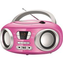 Rádio com CD, MP3 Player, FM, Potência 6W RMS, Entradas USB e Auxiliar Mondial Up BX-15 Rosa