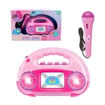 Radio com Microfone Amplificador Popstar Infantil com Musicas e Luzes - Ark Toys AKT3734 -