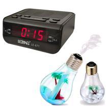 Rádio Despertador Digital AM/FM + Lampada Aromatizadora/Umidificador de Ambiente - Lelong