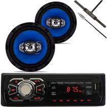 Radio Fm SD Bluetooth + Par de Falantes 6 pol Orion + Antena Interna -
