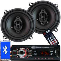 Rádio Mp3 Automotivo Bluetooth Fm Usb + Par Alto Falante Roadstar 5 Pol 110W Rms - First opt/roadstar