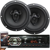 Rádio Mp3 Automotivo Bluetooth Fm Usb + Par Alto Falante Roadstar 6,5 Pol 130W Rms - First opt/roadstar