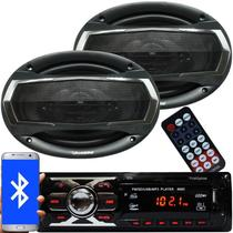 Rádio Mp3 Automotivo Bluetooth Fm Usb + Par Alto Falante Roadstar 6x9 Pol 240W Rms - First opt/roadstar