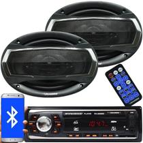 Rádio Mp3 Automotivo Bluetooth Fm Usb RS-2606BR + Par Alto Falante Roadstar 6x9 Pol 240W Rms RS-695