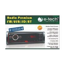 Radio Mp3 Automotivo E-tech Premium Bluetooth - Etech